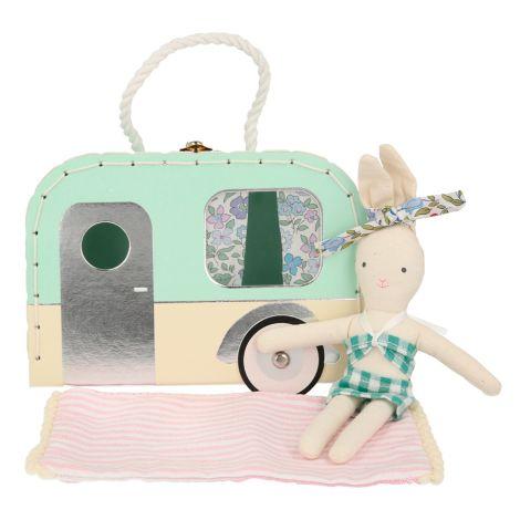 Meri Meri Koffer mit Puppe Wohnwagen Mini Häschen