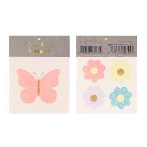 Meri Meri Temporäre Tattoos Blumen und Schmetterlinge