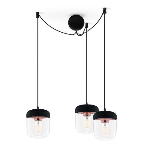 UMAGE - VITA copenhagen Deckenlampe Acorn Black Copper 3er-Set mit Aufhängung •