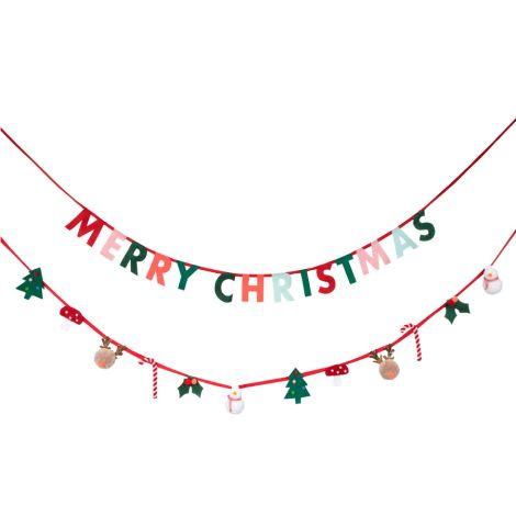 Meri Meri Girlande aus Filz mit Weihnachsmotiven