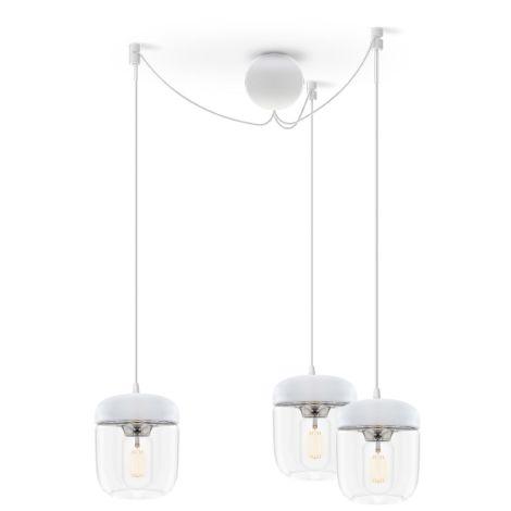UMAGE - VITA copenhagen Deckenlampe Acorn White Steel 3er-Set mit Aufhängung