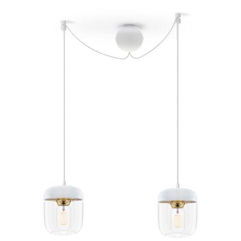 UMAGE - VITA copenhagen Deckenlampe Acorn White Brass 2er-Set mit Aufhängung