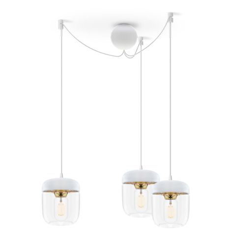 UMAGE - VITA copenhagen Deckenlampe Acorn White Brass 3er-Set mit Aufhängung
