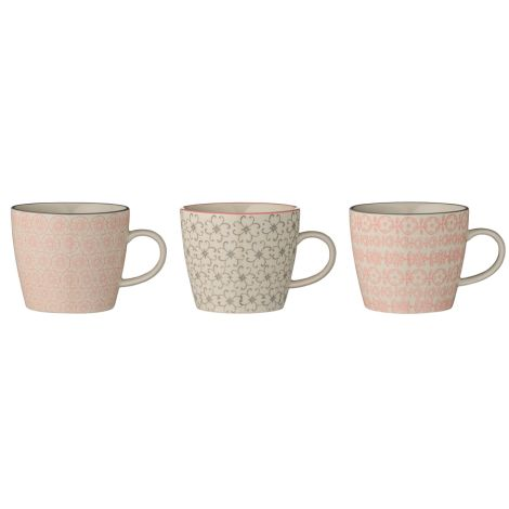 Bloomingville Tasse mit Henkel Cécile Rose/Grey 3er-Set