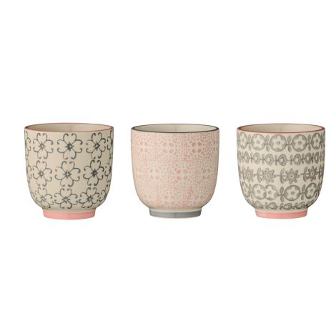 Bloomingville Becher Cécile Rose/Grey 3er-Set
