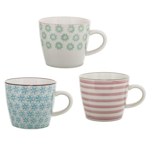 Bloomingville Tasse Patrizia 3er-Set Nude/Light Blue/Light Green