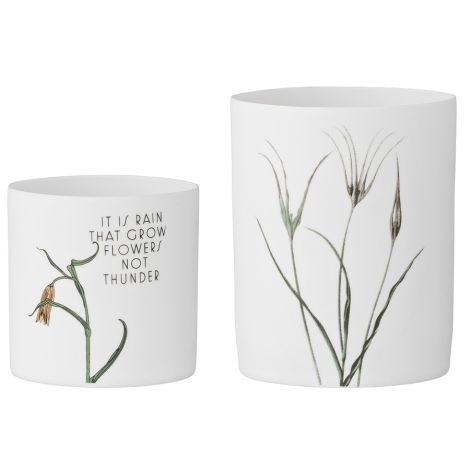 Bloomingville Windlichter Flowers on Matte White 2er-Set