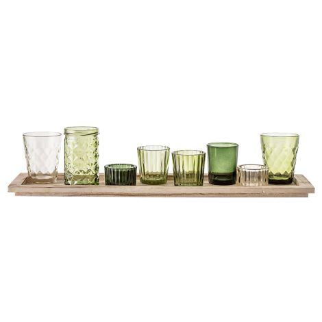 Bloomingville Windlicht Gläser mit Tablett Green 9er-Set