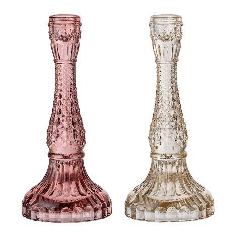 Bloomingville Großer Kerzenhalter aus Glas 2er-Set •