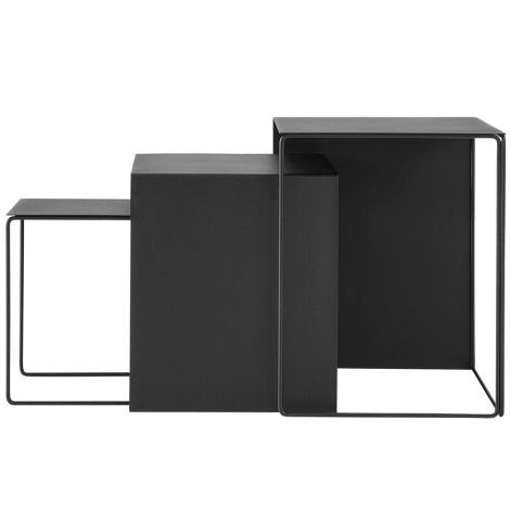 ferm LIVING Beistelltisch Cluster Tables Black 3er-Set