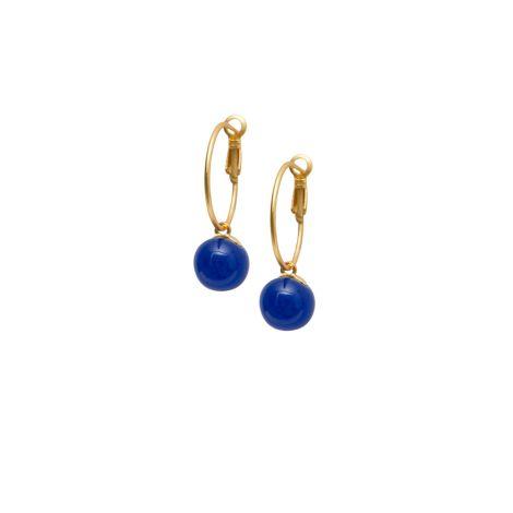 Dansk Smykkekunst Ohrring Alice Drop Hoop Blue