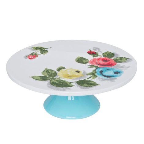 Cath Kidston Porzellan-Tortenplatte Painterly Rose White •