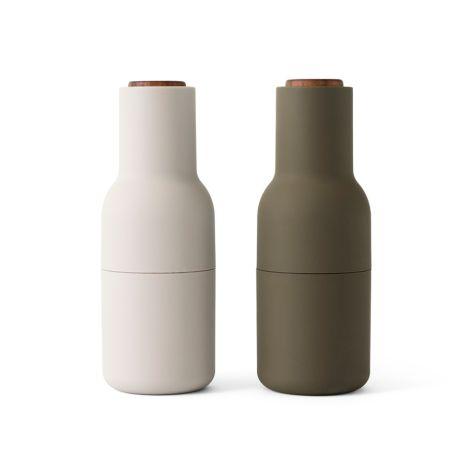 Menu Bottle Salz- & Pfeffermühle Hunting Green/Beige mit Walnussdeckel 2er-Set