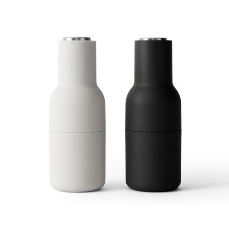 Menu Bottle Salz- & Pfeffermühle Ash/Carbon Steel 2er-Set