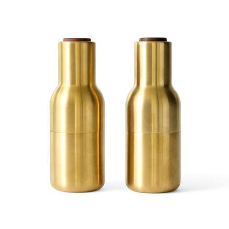 Menu Bottle Salz- & Pfeffermühle Brushed Brass mit Walnussdeckel 2er-Set
