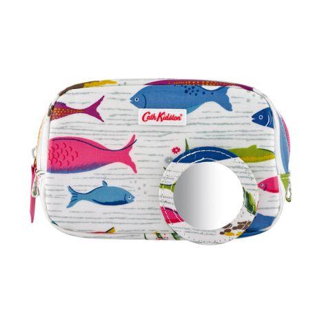 Cath Kidston Make-Up-Tasche Mini River Fish White