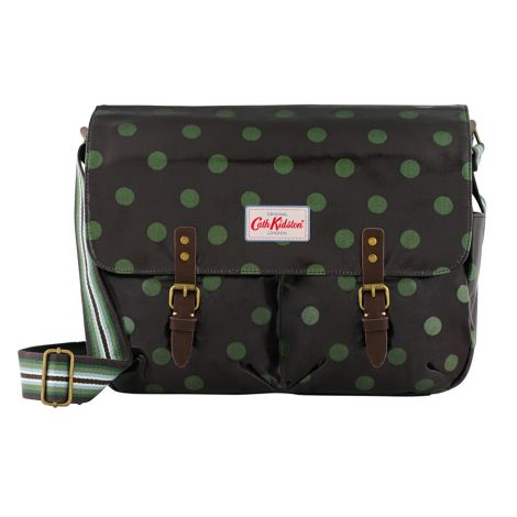 Cath Kidston Umhängetasche Saddle Bag Button Spot Charcoal Olive