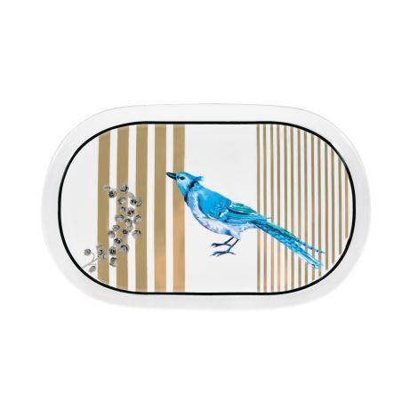 Miss Étoile Servierteller Oval Bird and Stripes •