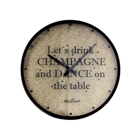 Miss Étoile Wanduhr Lets drink Champagne