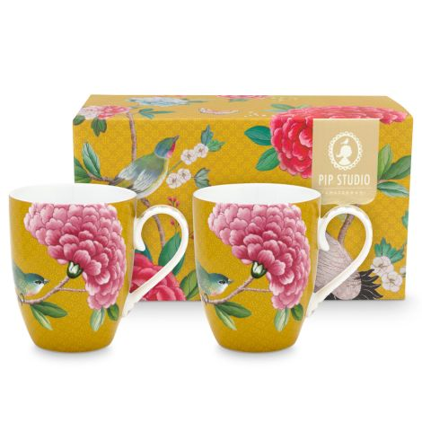 PIP Studio Große Tasse Blushing Birds Yellow 350ml 2er-Set