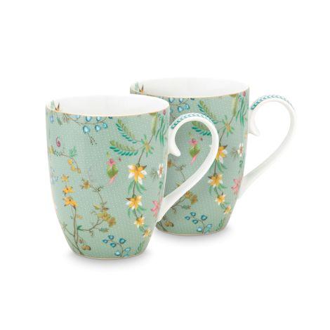 PIP Studio Große Tasse Jolie Flowers Blue 2er-Set