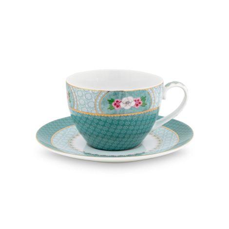 PIP Studio Cappuccino-Tasse mit Unterteller Blushing Birds Blue