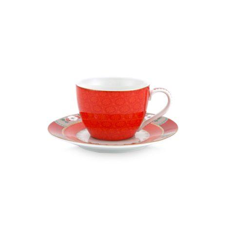 PIP Studio Espresso Tasse mit Unterteller Blushing Birds Red