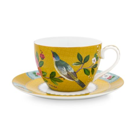 PIP Studio Tasse mit Unterteller Blushing Birds Yellow 280ml