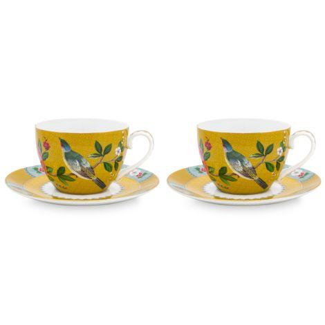 PIP Studio Tasse mit Unterteller Blushing Birds Yellow 280ml 2er-Set