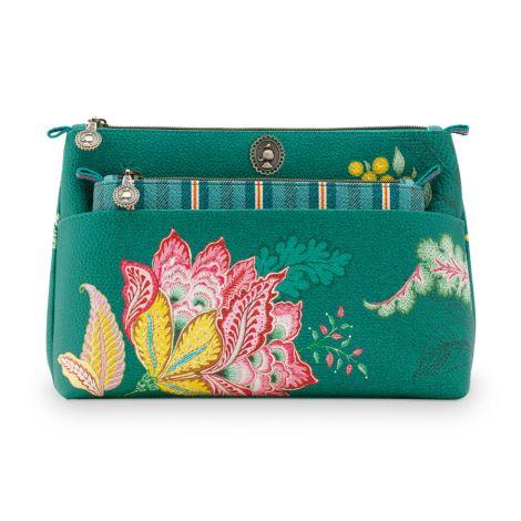 PIP Studio Kosmetiktasche Combi Jambo Flower Green 2er-Set