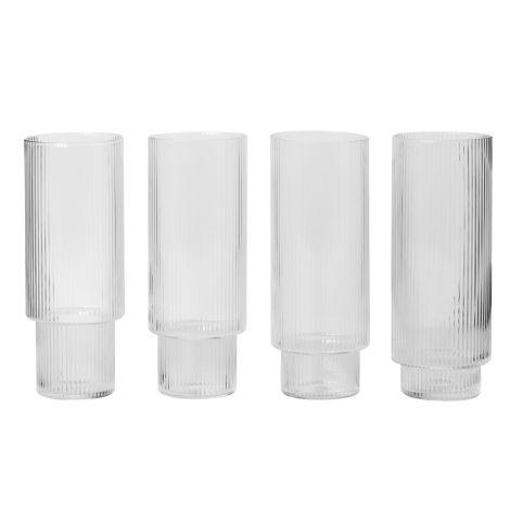 ferm LIVING Long Drink Glas Ripple 4er-Set