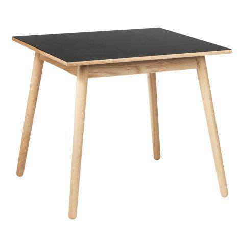 FDB Møbler C35A Quadratischer Tisch Natur/Schwarz Linoleum Schwarz