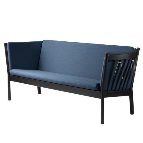 FDB Møbler J149 Sofa 3-Sitzer Schwarze Eiche/Dusty Blue