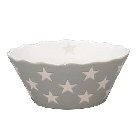 Krasilnikoff Schüssel Happy Bowl Stars Light Grey S •