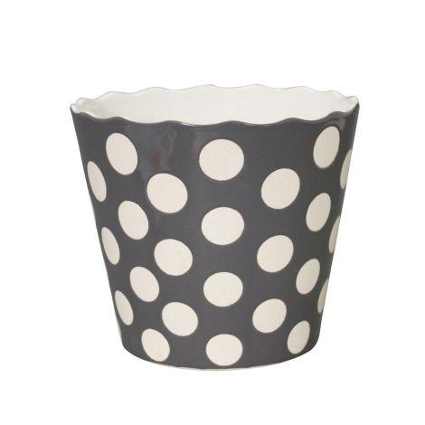 Krasilnikoff Schüssel Happy Bowl Dots Charcoal XL