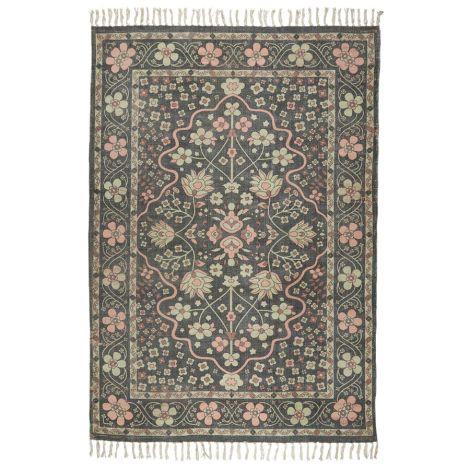 IB LAURSEN Teppich Schwarz mit rosa und hellgrünen Blumen Handgewebt