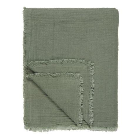 IB LAURSEN Kuscheldecke Plaid Doppelt Gewebt Dusty Chalk Green