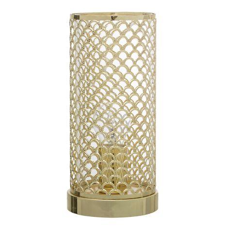 Bloomingville Tischlampe Gitter Gold •