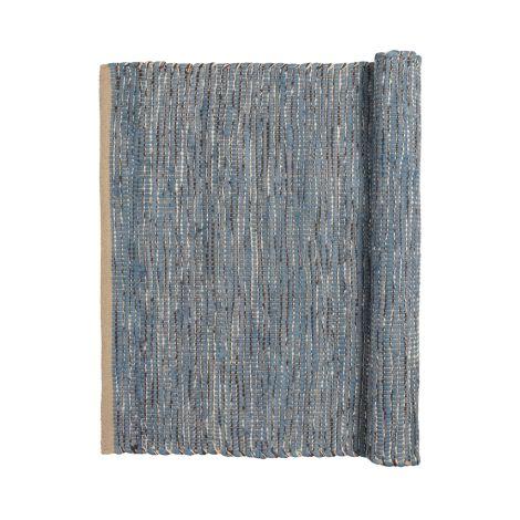 Broste Copenhagen Teppich Magda Flint Stone Blue 80 x 250