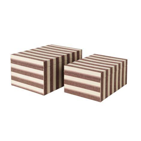 Broste Copenhagen Aufbewahrungskiste Cleo L Puce Red Stripes 2er-Set