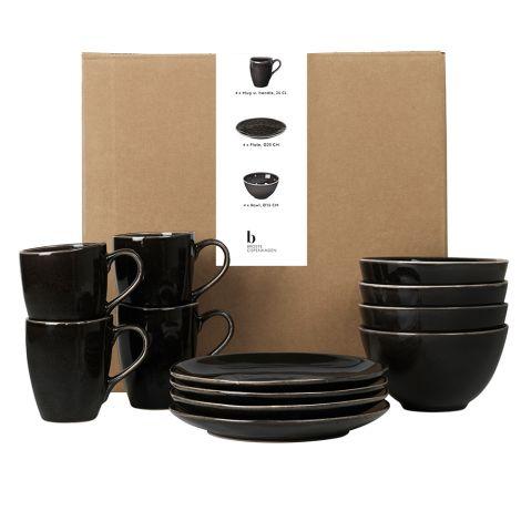 Broste Copenhagen Geschirr-Set Frühstück Nordic Coal 12-teilig