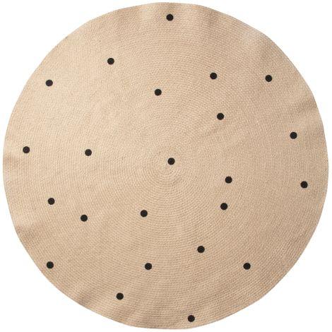 ferm LIVING Teppich Jute Black Dots