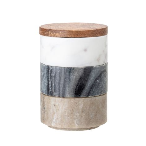 Bloomingville Aufbewahrungsgefäß stapelbar Marmor 3er-Set