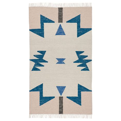 ferm LIVING Teppich Kelim Blue Triangles - Small