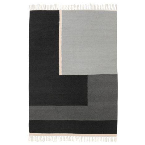 ferm living kelim teppich schwarz grau rose gro. Black Bedroom Furniture Sets. Home Design Ideas