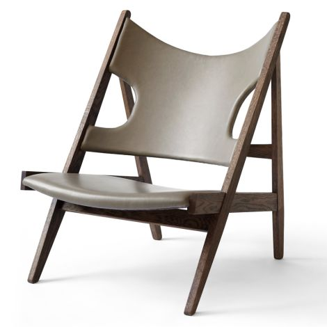 Menu Knitting Stuhl Lounge Chair Dark Stained Oak/Leather Dakar Sand