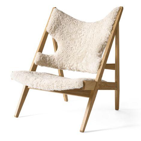 Menu Knitting Stuhl Lounge Chair Natural Oak/ Sheepskin White
