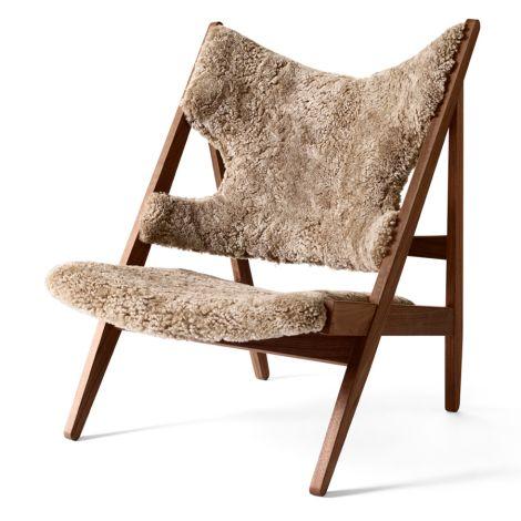 Menu Knitting Stuhl Lounge Chair Walnut/ Sheepskin Nougat