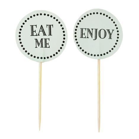 Miss Étoile Deko-Stick Papier eat me / enjoy Grün 12 Stk.