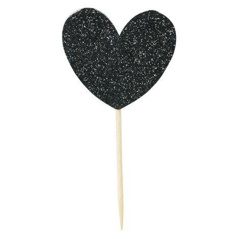 Miss Étoile Deko-Stick Paper Big Heart Black Glitter 12 Stk.